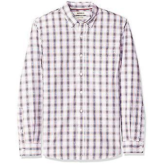 Goodthreads الرجال & apos;ق سليم تناسب طويلة الأكمام منقوشة بوبلين قميص, -الوردي / منقوشة متعددة, XXX-Large