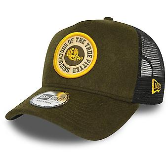 New Era 9Forty WOOL A-Frame Trucker Cap - BRAND PATCH olive
