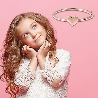 """Heart Bangle voor Kids Sterling Silver Rose Gold Plated Size 6.2"""" TJC"""
