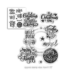 Polkadoodles Merry & Bright Christmas Greetings Clear Stamps