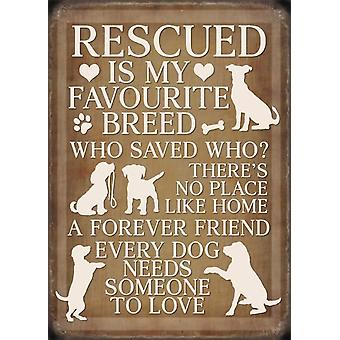 Medium Wall Plaque 200mm x 150mm - Rescued Dog by The Original Metal Sign Co