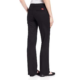 Dickies Women's Relaxed Fit Straight Leg Twill Pant, Black, 4 Short