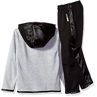 RBX Boys' Little Fleece Jacket, Tee and Pant Set, Grey Heather/Orange, 5/6