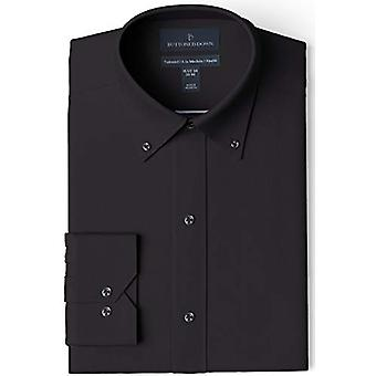 BUTTONED DOWN Men's Tailored Fit Bouton-Collar Solid Non-Iron Dress Shirt, Bl...