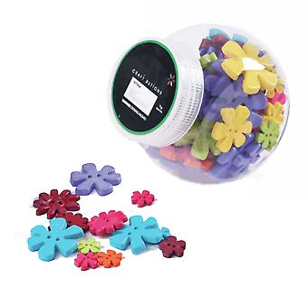 75g Mixed Size and Shade Buttons for Crafts - Bright Flowers