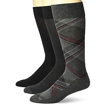 Merk - Buttoned Down Men's 3-Pack Pima Katoenen Patroon Jurk Sokken, Diagonal Plaid /Grey Stripe /Black Solid, Schoenmaat: 12-16