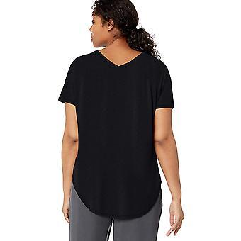 Merke - Daglig Ritual Kvinner's Jersey Kortermet V-Neck Longline T-skjorte, svart, Stor