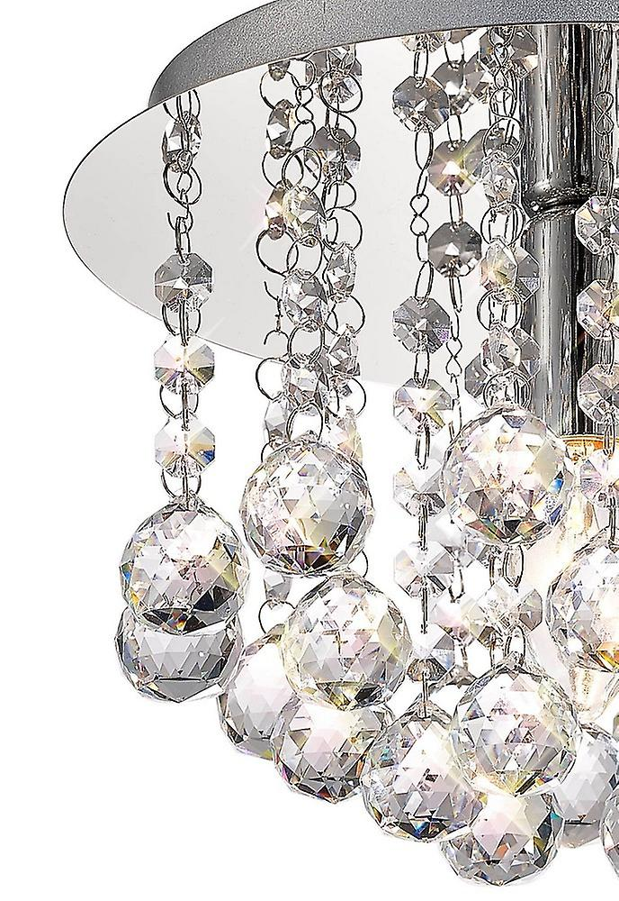 Inspired Deco - Acton - Flush Ceiling 1 Light E14, 250mm Round, Polished Chrome, Sphere Crystal