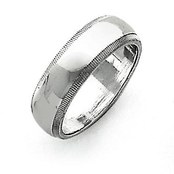 925 Sterling Silver Solid Polished Half Round Engravable 6mm Milgrain Band - Ring Size: 4 to 13.5