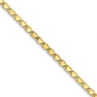 14k Yellow Gold Hollow Lobster Claw Closure Polished Double Sided Love Heart Anklet 10 Inch Lobster Claw Jewelry Gifts f