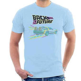 Zurück in die Zukunft Delorean Neon Zeitmaschine Männer's T-Shirt