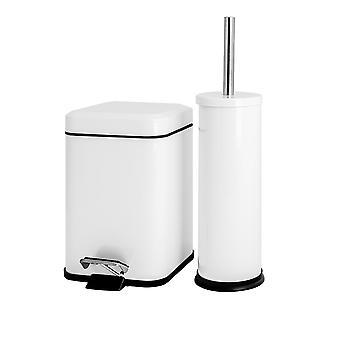 Juego de cubos de baño y cepillo de inodoro - 3L Square Bin - Blanco