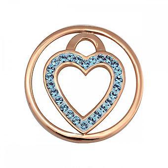 Nikki Lissoni Coração Azul Pequena moeda banhada a ouro C1039GS04