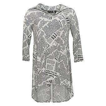 Women with Control Women's Top (XXS) Printed Collared Tunic White A347317