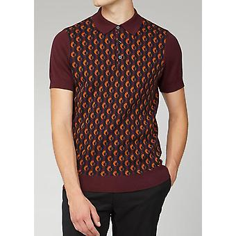 Port Burgund mit Orange Jacquard gestrickte Polo Shirt