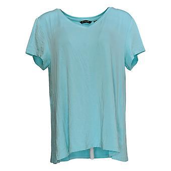 H By Halston Women's Top Essentials Short Sleeve V Neck Blue A306231