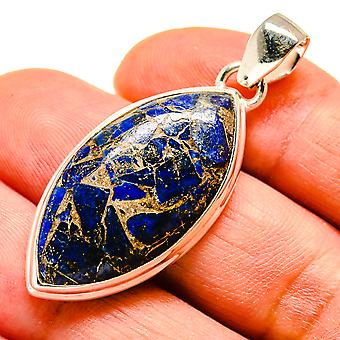 "Copper Lapis Lazuli 925 Sterling Silver Pendant 1 3/4""  - Handmade Boho Vintage Jewelry PD741671"