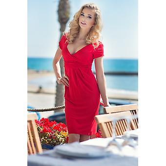 Elegant Womens Dress V Neck Short Sleeve Knee Length Tunic 8416