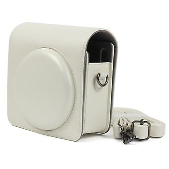 Pearly Lustre PU Leather Case Bag for FUJIFILM Instax SQUARE SQ6 Camera, with Adjustable Shoulder Strap(White)