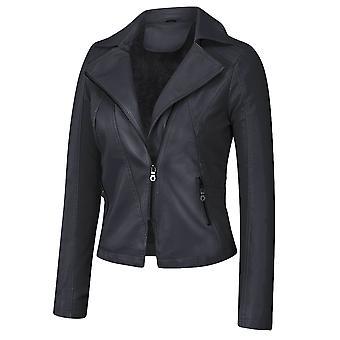 YANGFAN Ladies Plus Velvet Solid Color Casual Faux Leather Jacket