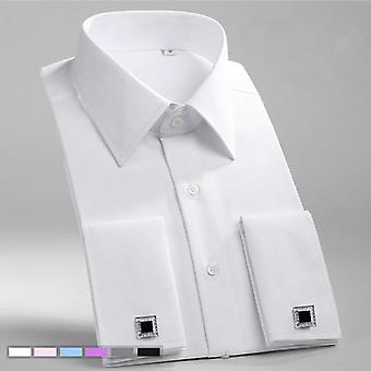 Cuff Shirts, Mens Long Sleeve, Formal Business Dress Shirt, Solid Wedding