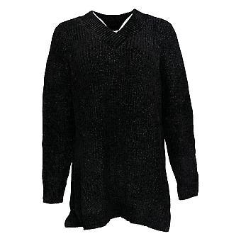 牛仔与公司女装毛衣切尼尔 V-neck 长袖调谐黑色 A373184