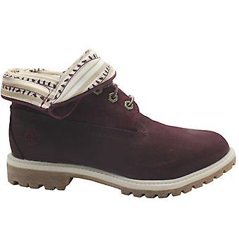 Timberland Authentic Roll Top Dam läder Bourgogne Lace Up Boots 8767R B47D
