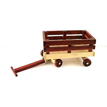 New Dolls House Toy Shop Nursery Accessoire Pull Along Wooden Truck Cart Wagon