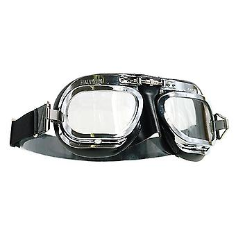 Halcyon MK10 Racer Motorcycle Classic Goggles Chrome Black Clear Lens