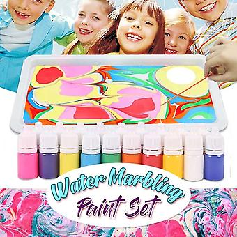 Childrens Water-based Art Paint Marbling Painting Kit Diy Painting On Water (a)