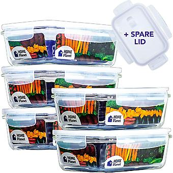 Home Planet Glass Meal Prep Containers | Glass Lunchbox | 5 Pack 840ml |