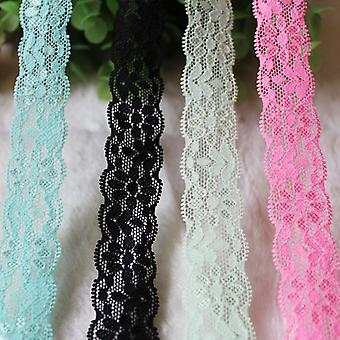 40Yards blandade färger Spets trimning 1 tum elastisk spets band för sömnad heminredning