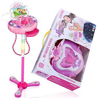 Anpro Kinder Karaoke-Maschine, tragbare Mikrofon Musikalische Spielzeug mit verstellbaren Ständer & blinkende Lichter