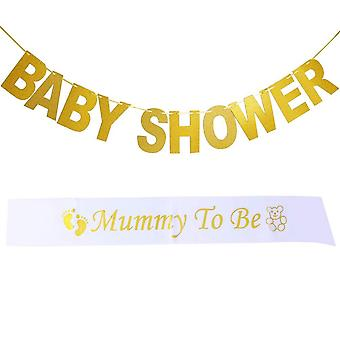 Kuou 2 pieces baby shower bunting banner and mummy to be sash satin for baby shower party decoration