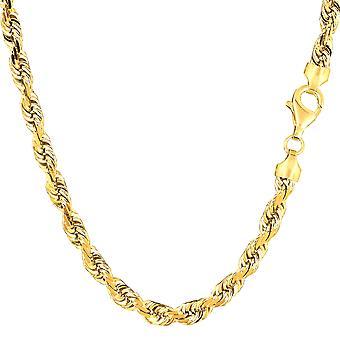 14K Yellow Gold täynnä kiinteä köysi ketjun kaulakoru, 6.0 mm leveä