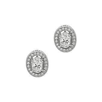 Boucles d'oreilles Sterling Silver Open Oval Cubic Zirconia Stud