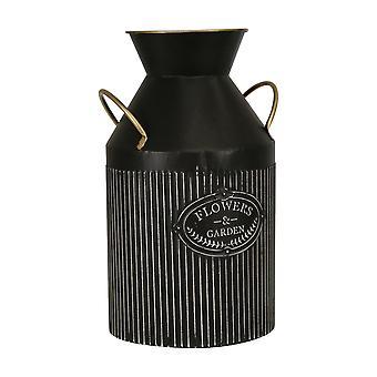 """Metal 14"""" Handled Garden Vase, Black"""