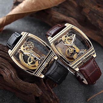 Deffrun Rectangle Automatyczny zegarek mechaniczny Genuine Leather Business Style Men