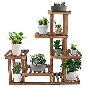 Mehrstufige Holz Pflanze Stand Balkon Garten Blume Pflanze Stand Display Regal
