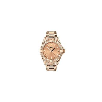 Seksy Ladies 4669 Seksy Round Rose Dial Stone Bezel And Rose Gold Plated Bracelet Watch