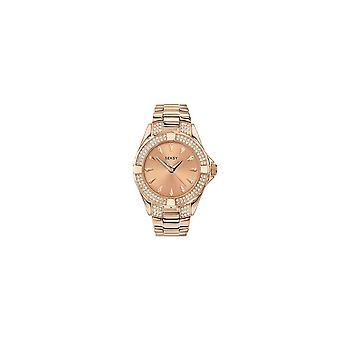 Seksy Dames 4669 Seksy Ronde Rose Dial Stone Bezel en Rose Vergulde Armband Horloge