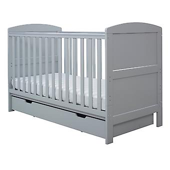 Ickle Bubba Coleby Classic Cot Bed, Under Drawer and Pocket Sprung Mattress - Grey