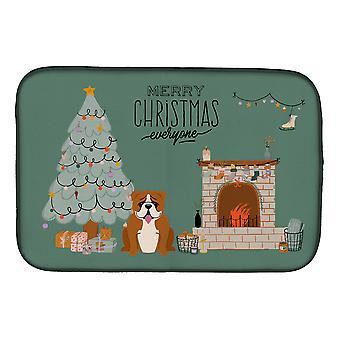 Red White English Bulldog Christmas Everyone Dish Drying Mat