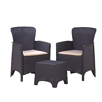 3PC Rattan Style Armchair & Table Bistro Balcony Set - Outdoor Garden Furniture