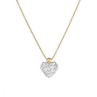 Cuello de oro amarillo y óxidos de circonio blanco -apos;Corazón de Cristal-apos;
