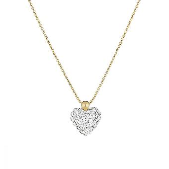 Yellow Gold krage och vit zirkonium oxider -apos;Heart of Crystal-apos;