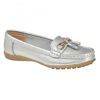 Boulevard Camilla Ladies Leather Tassle Loafers Silver Metallic