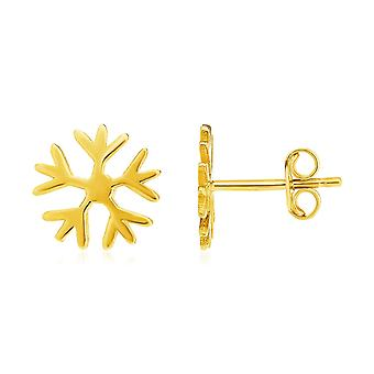 14k Yellow Gold Post Earrings with Snowflakes