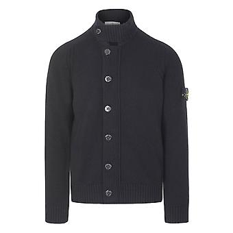 Stone Island | 564a3 Button & Zip Up Lambswool Knitted Jumper - Black