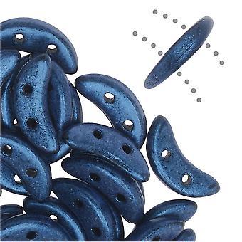CzechMates Glass, 2-Hole Crescent Beads 10x4.5mm, 10 Grams, Metallic Blue Suede